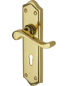 Buckingham Lever Door Handles On A Backplate - Polished Brass - Suitable For Use With FD30 / FD60 Fire Doors