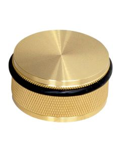 Buster & Punch Knurled Pattern Large Floor Mounted Door Stop - Satin Brass