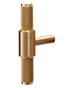 Buster & Punch Diamond Cut Knurled Pattern T-Bar Cabinet Door Pull Handle - Satin Brass