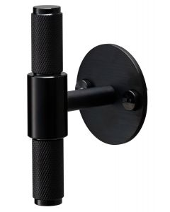 Buster & Punch Diamond Cut Knurled Pattern T-Bar Cabinet Door Pull Handle With Back Plate - Matt Black