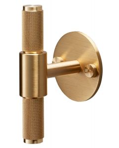 Buster & Punch Diamond Cut Knurled Pattern T-Bar Cabinet Door Pull Handle With Back Plate - Satin Brass