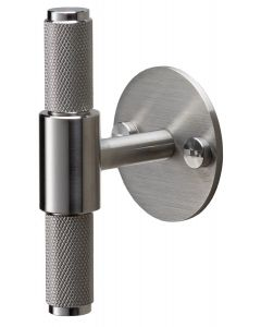 Buster & Punch Diamond Cut Knurled Pattern T-Bar Cabinet Door Pull Handle With Back Plate - Satin Stainless Steel
