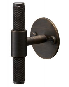 Buster & Punch Diamond Cut Knurled Pattern T-Bar Cabinet Door Pull Handle With Back Plate - Smoked Bronze