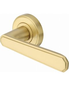 Century - Round Rose Lever Handles Only - Satin Brass