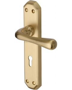 Charlbury Lever Door Handles On A Backplate - Satin Brass - Suitable For Use With FD30 / FD60 Fire Doors