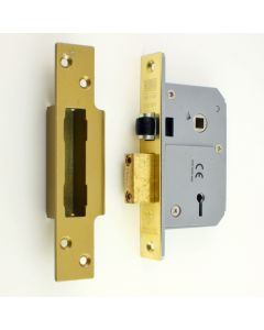 Chubb Lock  - BS 3621 Insurance Rated - 5 Lever Sash Lock With Roller Latch - Polished Brass