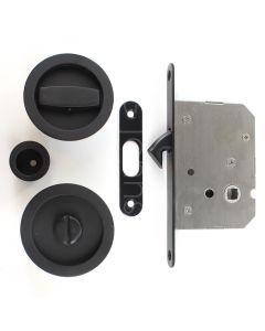 Circular Design Bathroom Hook Lock For Sliding Pocket Doors - With Turn And Release - Matt Black