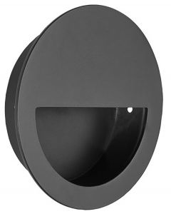 Circular Shape Half Moon Grip Flush Pull Handle - 90mm Diameter - Matt Black