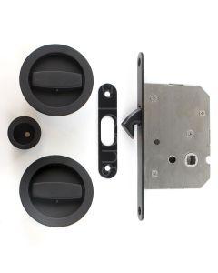 Circular Turn & Turn Hook Lock For Sliding Pocket Doors - Matt Black