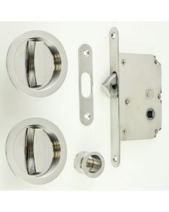 Circular Turn & Turn Hook Lock For Sliding Pocket Doors - Polished Stainless Steel