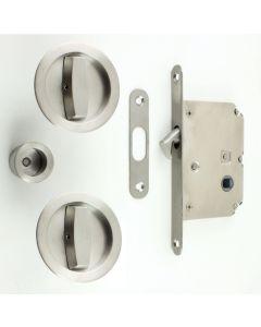 Circular Turn & Turn Hook Lock For Sliding Pocket Doors - Satin Stainless Steel