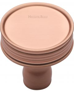 Reeded Disc Shaped Cupboard Knob - Satin Copper