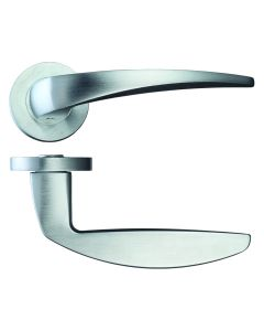 Cygnus Round Rose Lever Door Handles - Screw On Rose - Satin Chrome - Pair
