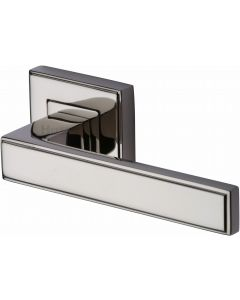Linear - Square Rose Lever Handles Only - Polished Nickel