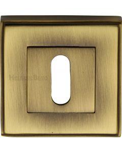 Standard Square Profile Escutcheon - Antique Brass