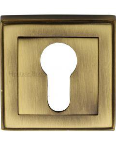 Euro Profile Square Escutcheon - Antique Brass