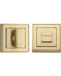 Square Turn & Release Cylinder With Stepped Edge Set - Satin Brass