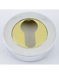 Euro Profile Escutcheons - Dual Finish - Polished Chrome & Brass