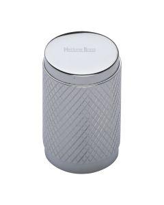 Diamond Cut Knurled Pattern Cylinder Cupboard Knob - Polished Chrome
