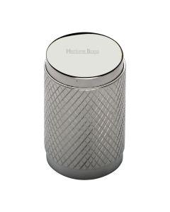 Diamond Cut Knurled Pattern Cylinder Cupboard Knob - Polished Nickel