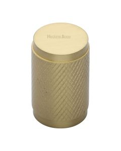 Diamond Cut Knurled Pattern Cylinder Cupboard Knob - Satin Brass