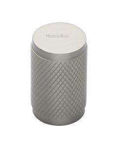 Diamond Cut Knurled Pattern Cylinder Cupboard Knob - Satin Nickel