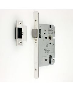 DIN Style Anti-Thrust Mortice Night Latch - 60mm Backset - 72mm Centres - Polished Stainless Steel