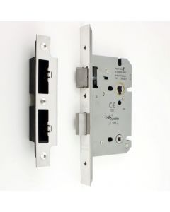 DIN Style Bathroom Mortice Lock - 60mm Backset - (78mm Centres) - Polished Stainless Steel - (Shiny Finish)