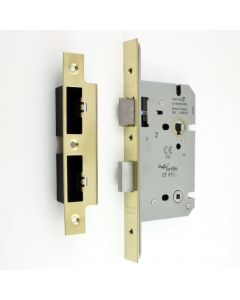 DIN Style Bathroom Mortice Lock - 60mm Backset - (78mm Centres) - PVD Brass Finish