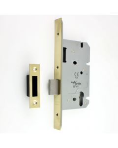 DIN Style Euro Profile Mortice Deadlock - 60mm Backset - PVD Brass Finish