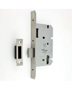DIN Style Euro Profile Mortice Deadlock - 60mm Backset - Satin Stainless Steel