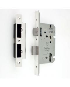 DIN Style Euro Profile Sash Lock - 60mm Backset - 72mm Centres - Polished Stainless Steel (Shiny Finish)