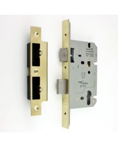 DIN Style Euro Profile Sash Lock - 60mm Backset - 72mm Centres - PVD Brass