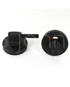 Accessible / Disabled Bathroom Turn & Release Set - With Large Turn & Red / White Indicator - Matt Black