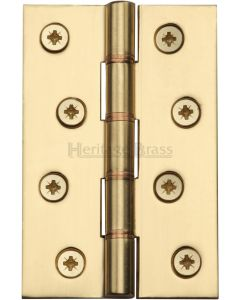 Traditional Double Phosphor Bronze Washered Hinges - Screws Included - 102mm x 67mm - Polished Brass