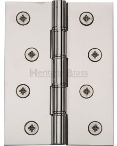 Traditional Double Phosphor Bronze Washered Hinges - Screws Included - 102mm x 76mm - Polished Nickel