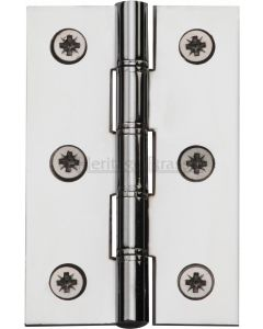 Traditional Double Phosphor Bronze Washered Hinges - Screws Included - 76mm x 50mm - Polished Chrome
