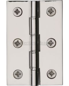 Traditional Double Phosphor Bronze Washered Hinges - Screws Included - 76mm x 50mm - Polished Nickel