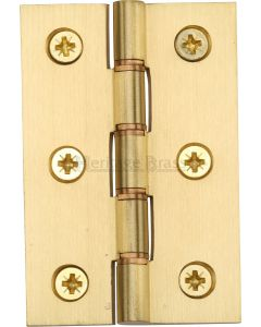 Traditional Double Phosphor Bronze Washered Hinges - Screws Included - 76mm x 50mm - Satin Brass