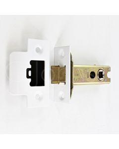 Double Sprung Tubular Mortice Latch CE Marked - Fire Rated - Matt White Finish