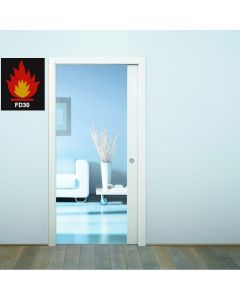 Eclisse Fire Rated Sliding Pocket Door System - Single Fire Door FD30 Kit - 100mm Finished Wall Thickness - Supplied With Brown Intumescent Seals