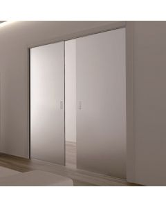 Eclisse Glass Sliding Pocket Door System - Double Door Kit Supplied With Glass Doors - 100mm Finished Wall Thickness