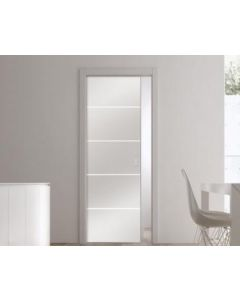 Eclisse Patterned Glass Sliding Pocket Door System - Double Door Kit - 100mm Finished Wall Thickness