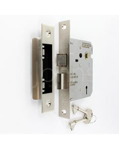 3 Lever Economy Mortice Sash Lock - Brushed Satin Nickel Finish