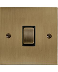 Elite Flat Plate Light Switch & Socket Range - Flat Plate With Rounded Edges - Antique Brass