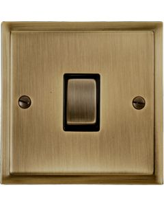 Elite Stepped Pattern Plate Light Switch & Socket Range - Flat Plate With Square Edges - Antique Brass