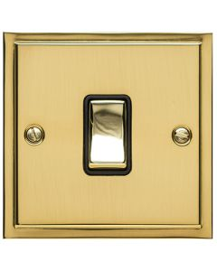Elite Stepped Pattern Plate Light Switch & Socket Range - Flat Plate With Square Edges - Polished Brass