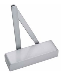Size 2-4 Overhead Slimline Door Closer - CE Marked To Size 3 - Adjustable Via Template - With Radius Cover & Matching Arms - Silver Finish