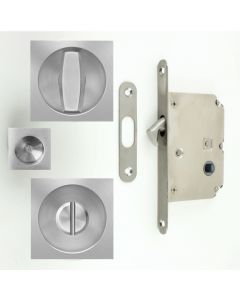 Square Shape Bathroom Hook Lock For Sliding Pocket Doors - With Turn And Release - Satin Stainless Steel
