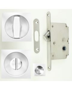 Square Shape Bathroom Hook Lock For Sliding Pocket Doors - With Turn And Release - Polished Stainless Steel